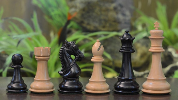 The Staunton Series Triple Weighted Chess Pieces In Ebony Etsy