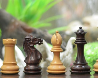 "The Staunton Series Weighted Chess Pieces in Rose & Box Wood with 4 Queens - 4.0"" King. D0177"