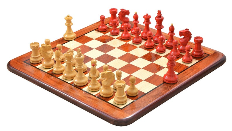 Special Edition Reproduced Vintage 1950/'s Circa Bohemia Staunton Series German Chess Set in Stained Crimson Boxwood 3.89 King
