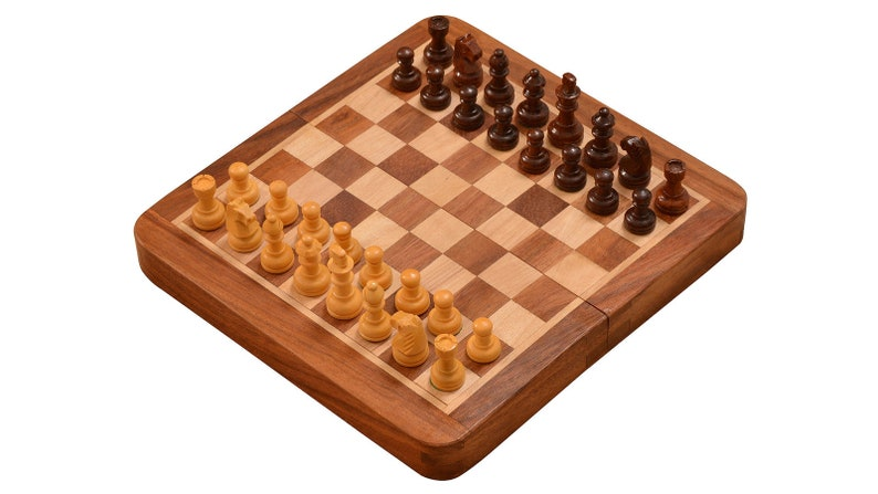 Indian Traveling folding Magnetic Chess Set 7 x 7 inches from image 0