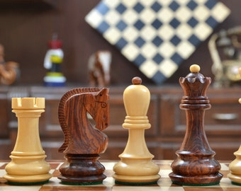 Rose Wood Russian Zagreb Bobby Fisher Weighted Staunton Chess Set Box Wood 4 Queens. SKU: M0057