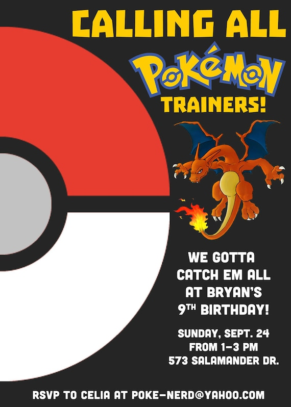 Awesome Custom Pokemon Birthday Invitation Printable Pdf