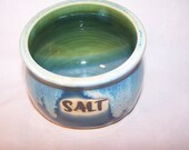 Salt pig. Glaze Three Greens Height 11cm. diameter 12 cm.