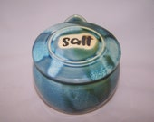 Salt pig with lid and handle. Three Greens Glaze range - height approx. 12 cm width approx 12cm