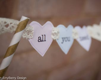 Personalised Pastel & Lace Heart Themed Cake Bunting Topper