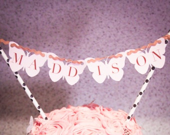 Personalised Butterfly Themed Cake Bunting Topper