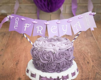 Personalised Purple PrincessThemed Cake Bunting Topper