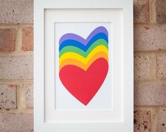 Rainbow Hearts - Giclée print