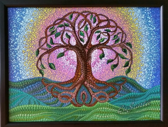 Original Celtic Symbol The Tree Of Life Dot Painting Hand Etsy