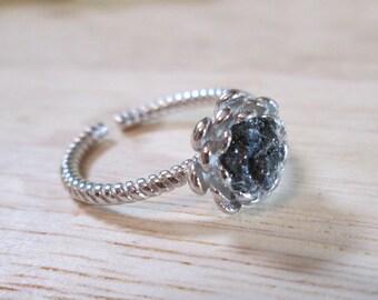 Raw black diamond ring, rough diamond, 925 sterling, flower, April, free gift wrap, mosaic, inlaid, promise ring, uncut, genuine diamonds