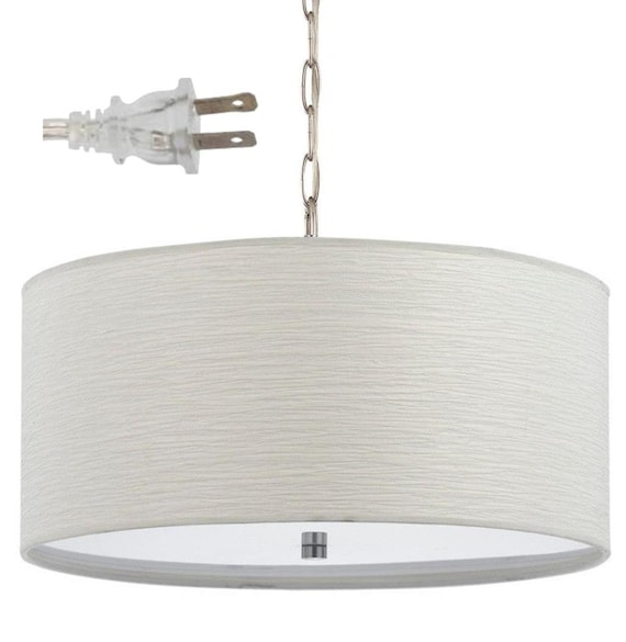 Simple Elegant Casual White Textured Linen Plug In Pendant Light Drum Swag Lamp Chandelier Mid Century Hanging Lamp Vintage 18 Wx8 5 H
