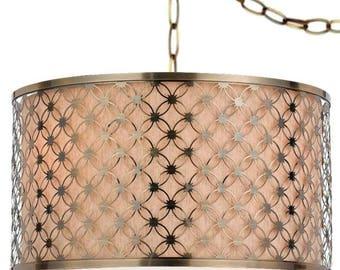 "Antique Brass Beige Linen Drum Plug In Pendant Light Swag Lamp Portable Chandelier Mid Century Modern Hanging Vintage Retro Industrial 17.5"""