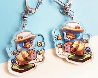 Cute Animal Beekeeper Bear Original Art 2in Acrylic Double-Sided Charm Keyring