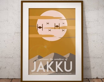 Star Wars: The Force Awakens Vintage Travel Poster [Visit Jakku] (alternative movie poster; minamalist movie poster)