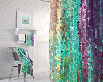 Teal And Purple Mosaic Shower Curtain Set