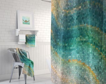 Ocean Mosaic Shower Curtain Set   Distant Shores Wave Teal Green Shower  Curtain, Shower Set, Extended Sizes Available