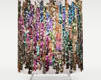 Colorful Jewel Tone Shower Curtain Fabric Ruby Amethyst Beautiful Mosaic