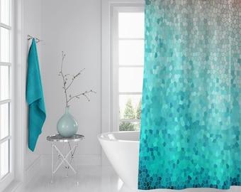 Mint And Peach Mosaic Shower Curtain