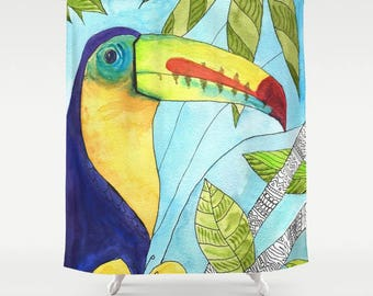 Toucan Shower Curtain   Watercolor , Rain Forest, Bird, Art, Bathroom,  Bright Colorful, Whimsical, Exotic, Wild, Tropical Decor