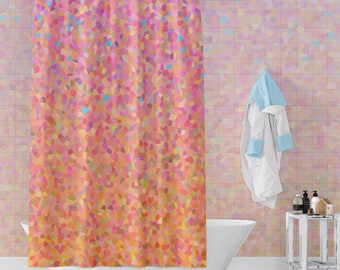 Peach And Pink Fabric Shower Curtain