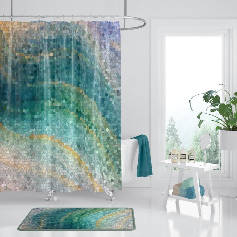Mosaic Shower Curtain Ocean Wave Distant