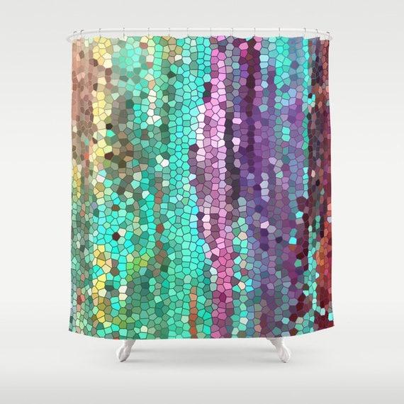 Schöne Duschvorhang Petrol Und Lila Mosaik Einzigartigen | Etsy