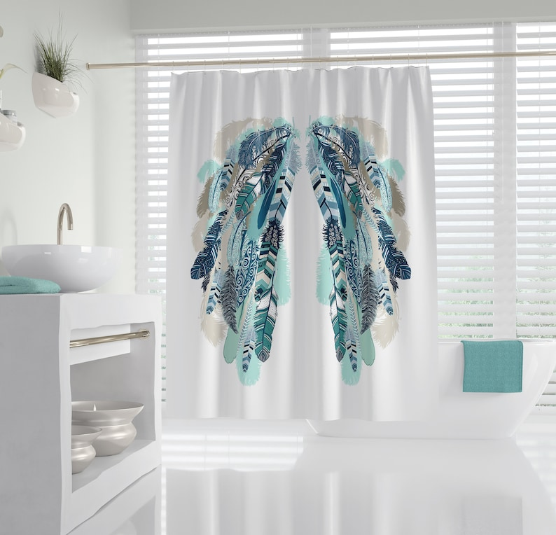 Angel Wings Shower Curtain White With Teal Feathers