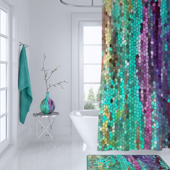 Beautiful Shower Curtain Teal And Purple Mosaic Unique