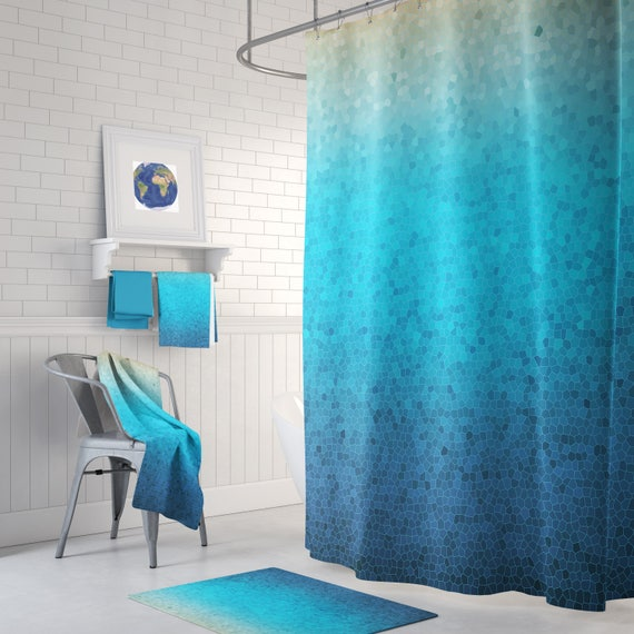 Sea Glass Mosaic Shower Curtain Set Blue Ombre Style