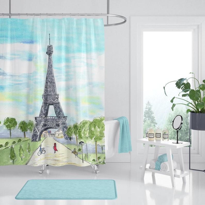 Paris France Shower Curtain City Sketch Art Eiffel