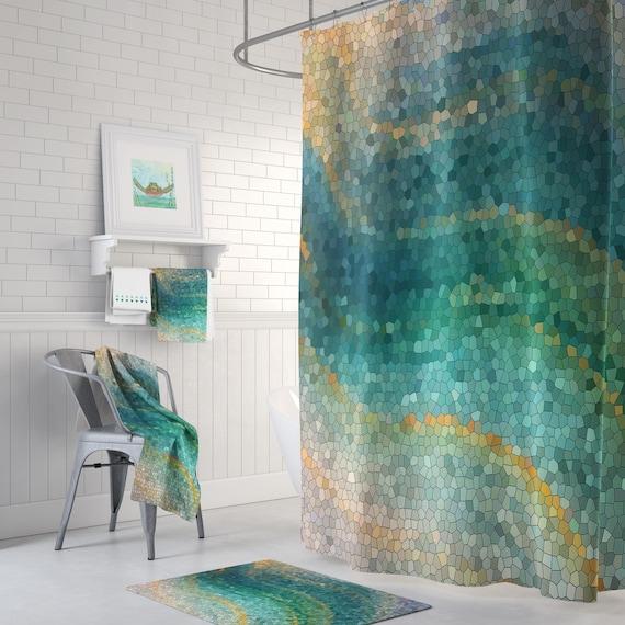 Ocean Mosaic Shower Curtain Set Distant Shores Wave Teal