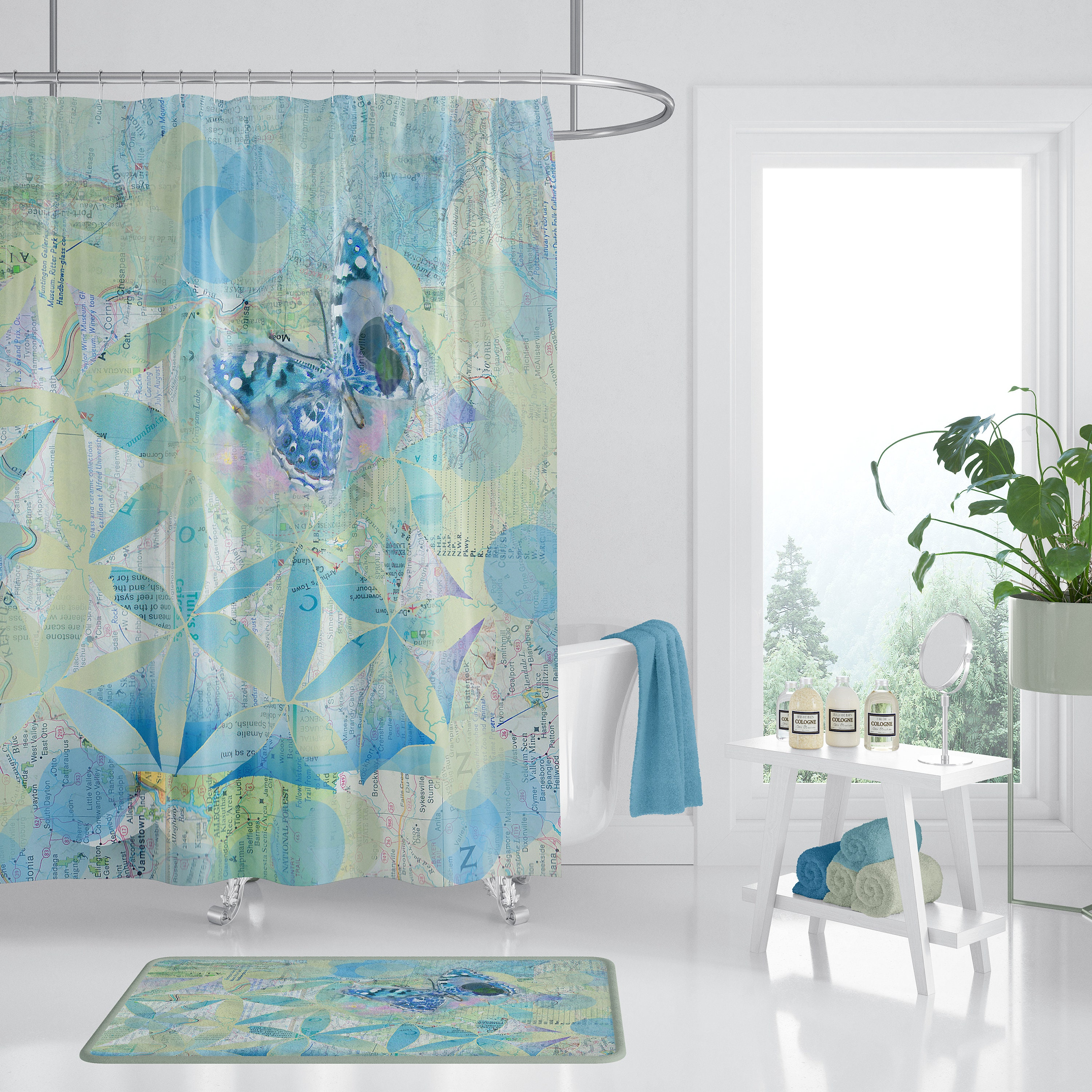 Butterfly Blue Fabric Shower Curtain Butterflies Pattern