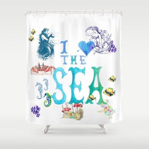 Turquoise Shower Curtain Mermaid With Seahorse Print for Bathroom
