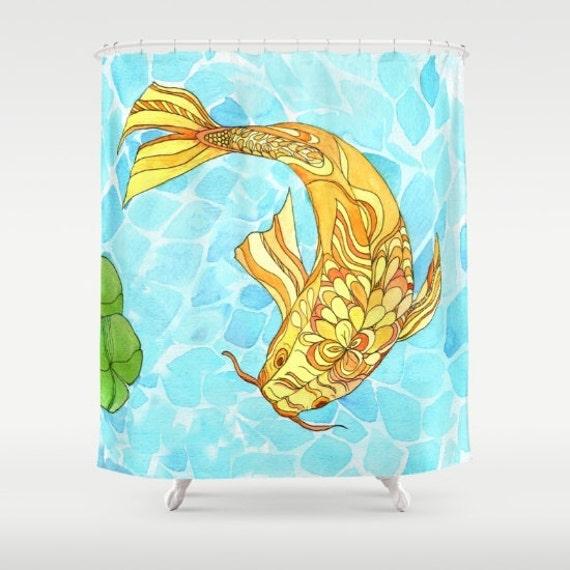 wunderschoene duschvorhaenge ideen, schöne duschvorhang koi teich aquarell koi fisch lilien | etsy, Design ideen
