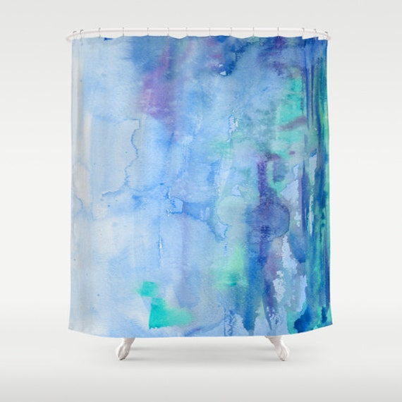 Blue Watercolor Shower Curtain Bliss