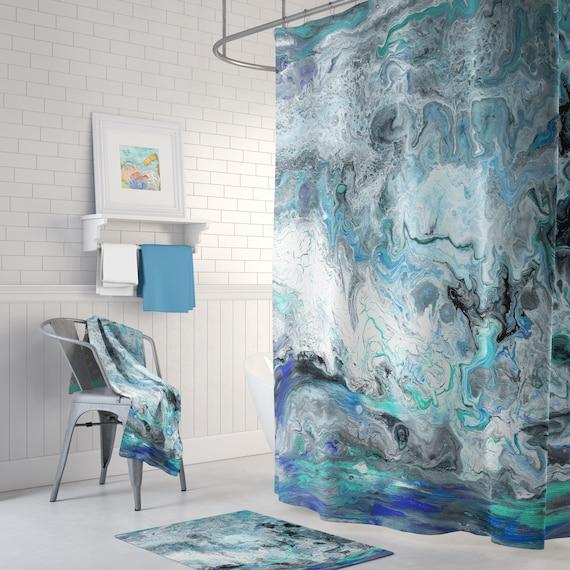 """Couronne et manteau Geometric Design Salle de bains Tissu Rideau De Douche /& 12 crochets 71/"""""""