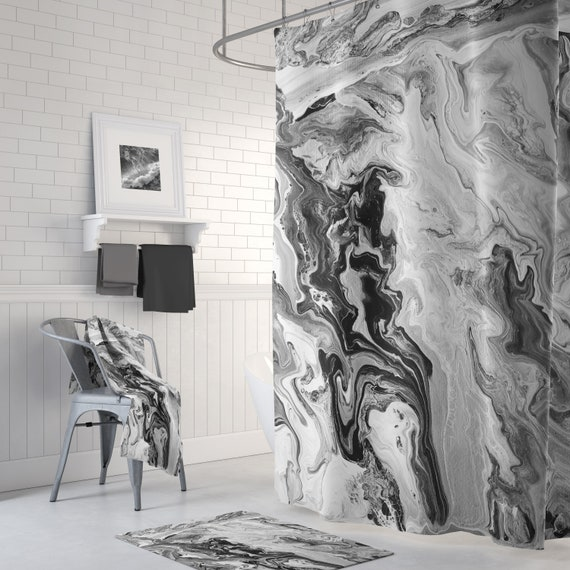 Black And White Marble Shower Curtain Set Swirling