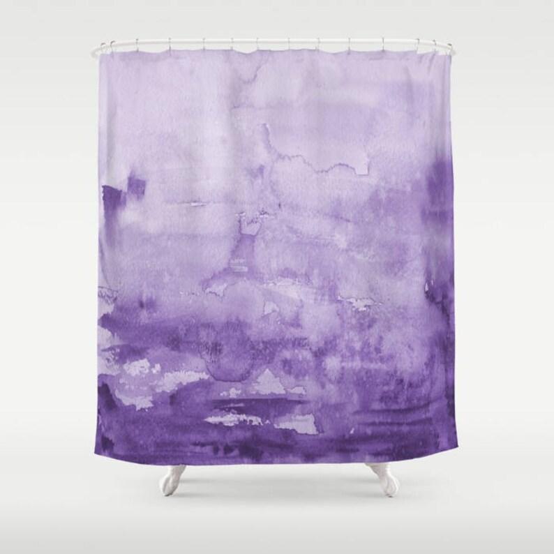 Purple Watercolor Shower Curtain Eggplant Unique