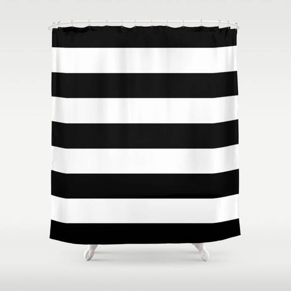 Black And White Stripe Shower Curtain Chic Designer Decor