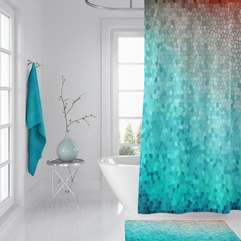 Mint And Peach Mosaic Shower Curtain Martha