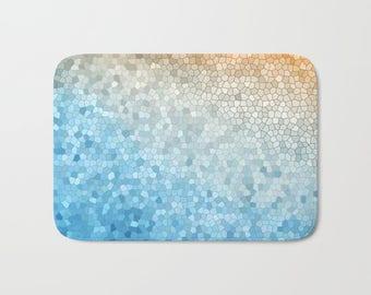 Bath Mat -  Mosaic Sunny Day yellow blue colorful, vibrant, rubber backed, Plush mat