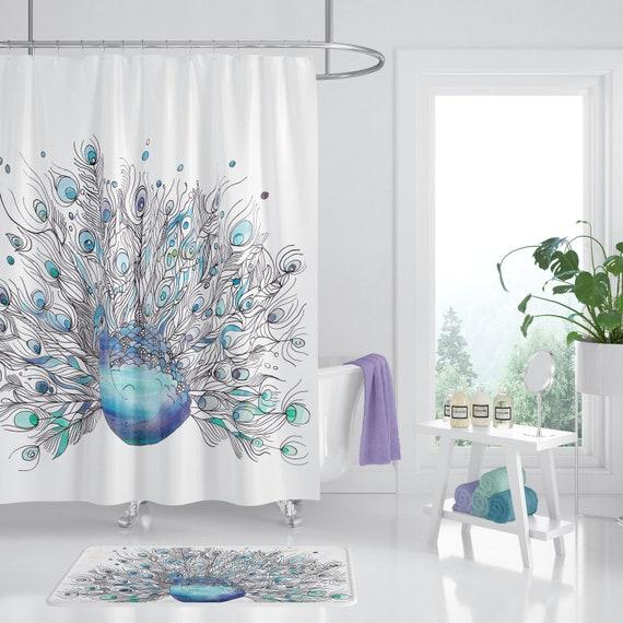 Peacock Shower Curtain Watercolor Art Blue