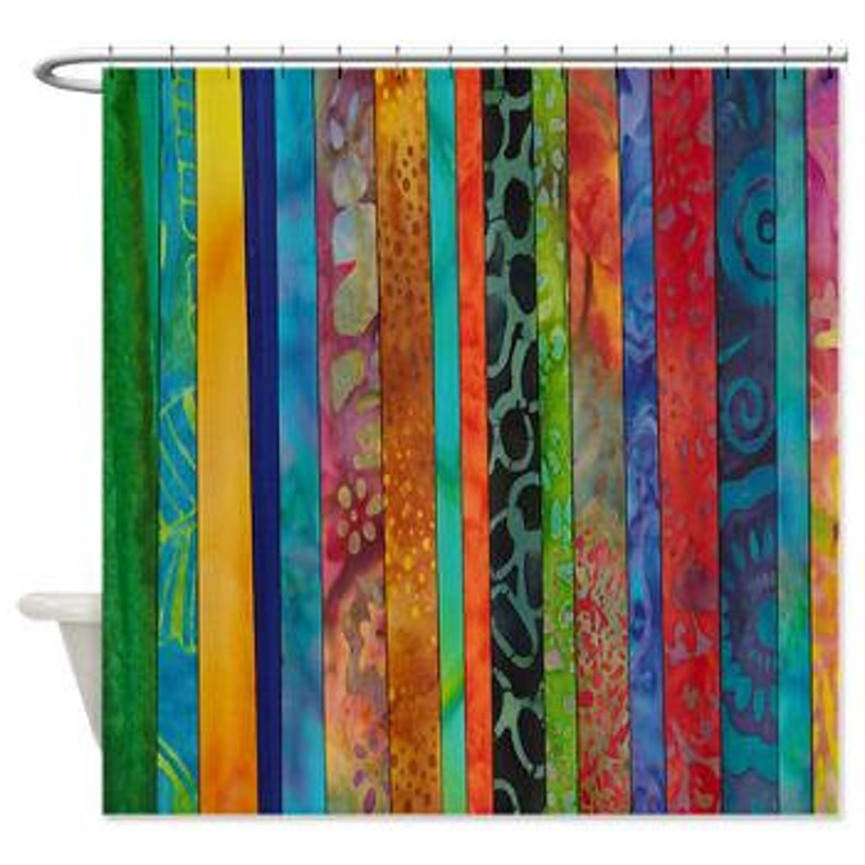 Boho Stripe Shower Curtain Rich Jewel Tone Batik