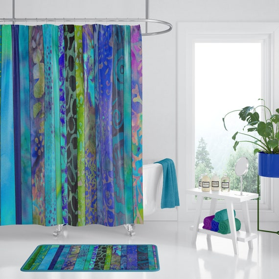 Boho Blues Shower Curtain Rich Cool Jewel Tone Batik Stripe