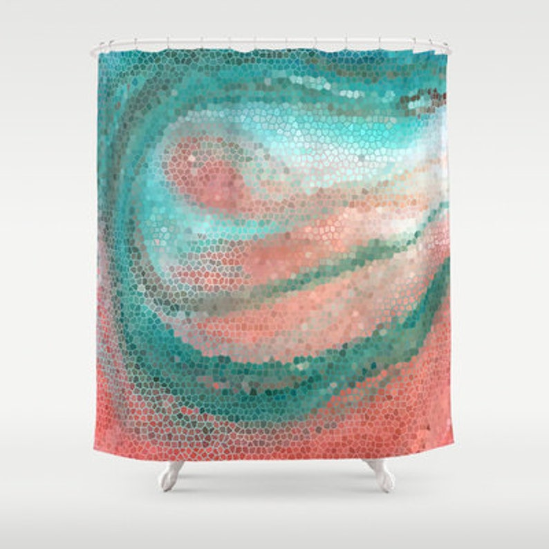 eeed8e85f4 Beautiful Shower Curtain Mint and Peach Mosaic Beach | Etsy