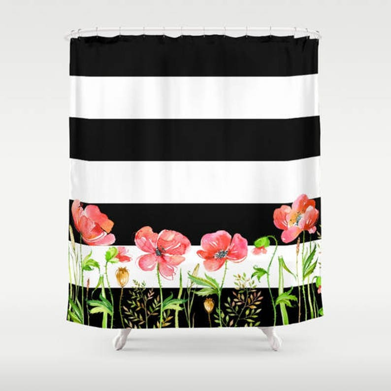 Floral Shower Curtain With Black And White Stripes Poppies