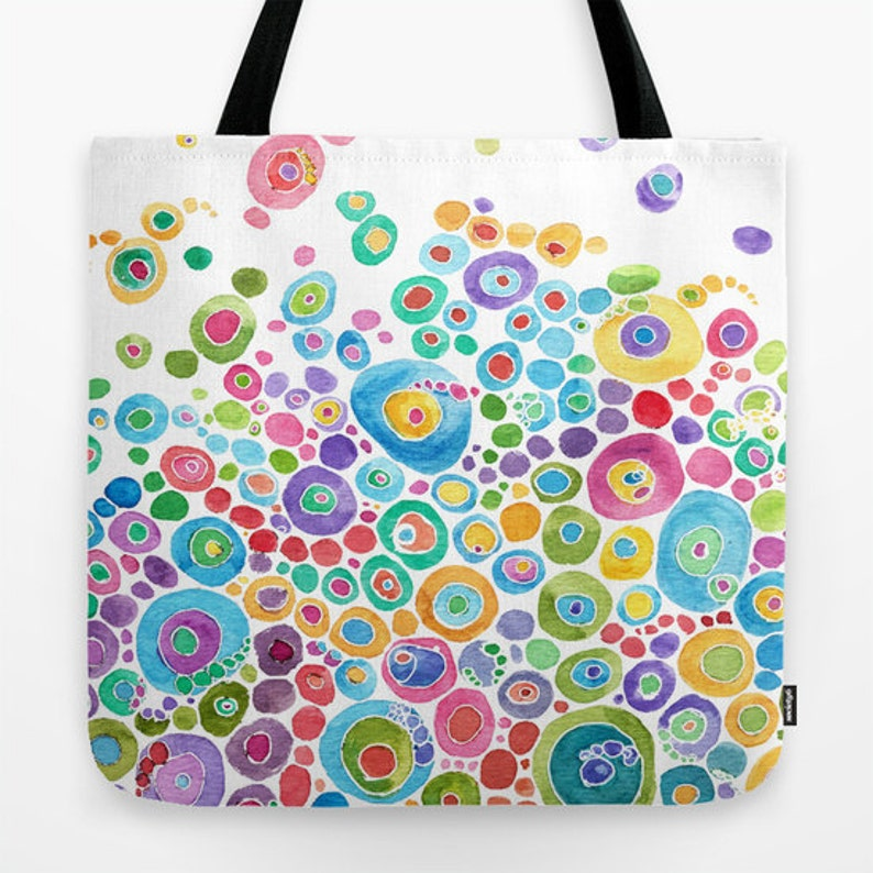 a33ed48425 Colorful Tote Bag Inner Circle design blue pink