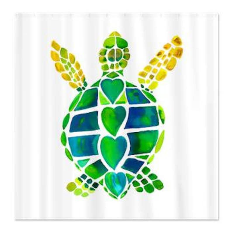 Green Sea Turtle Shower Curtain Love Surf Beach