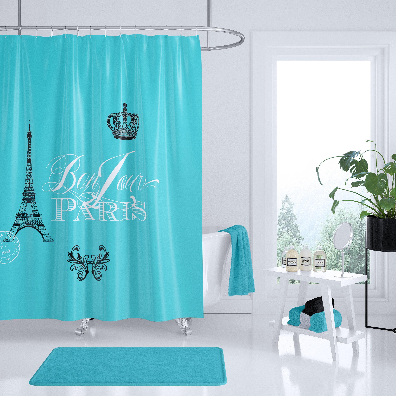 Paris Blue Shower Curtain Fabric Bonjour Chic French Crown Eiffel Tower Luxury Home Decor A Bathroom To Love