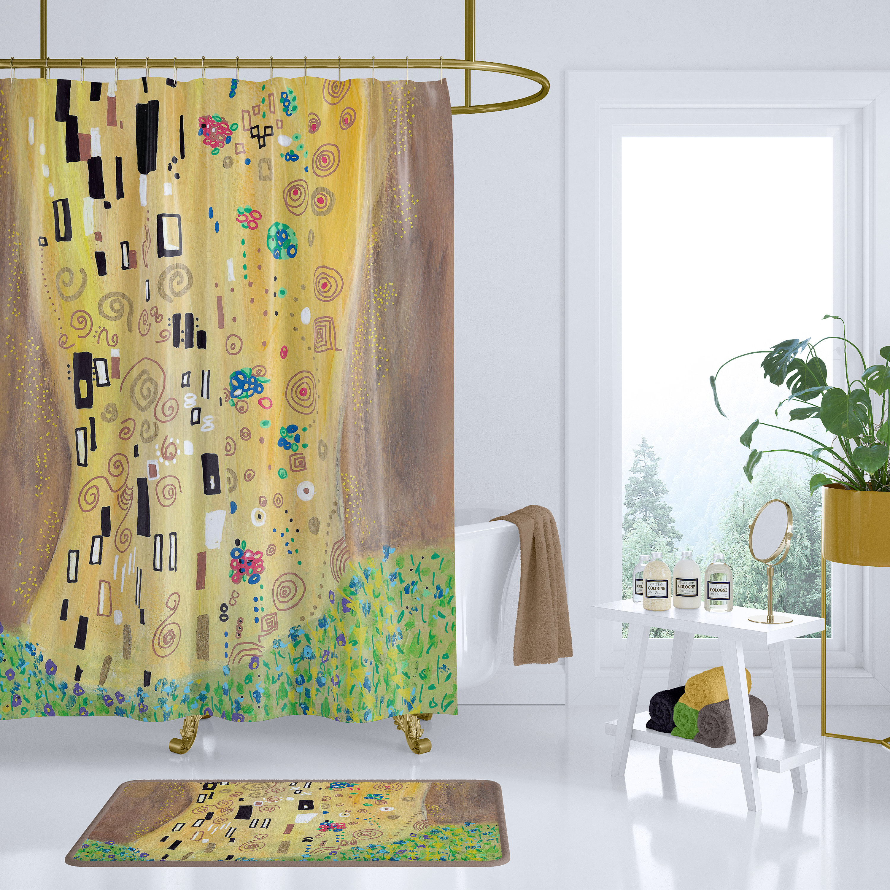 Gold Abstract Shower Curtain Inspired By Gustav Klimts